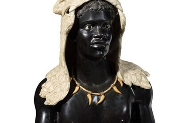 Italian school of the 19th century Moorish polychrome marble bust H. 89 cm with white marble pedestal veined with grey H. 17 cm