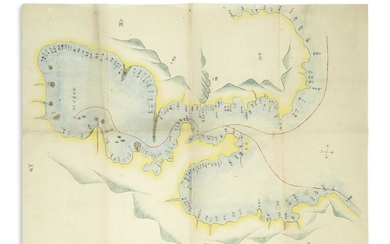 (JAPAN PERRY.) Fine manuscript map of Commodore Perry's Black Ship squadron entering Edo Bay.