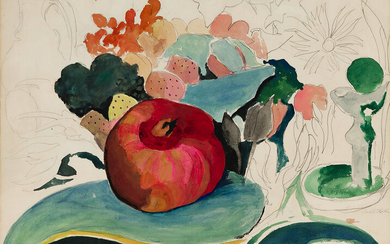 JOSEPH STELLA Still Life with a Pomegranate and Flowers