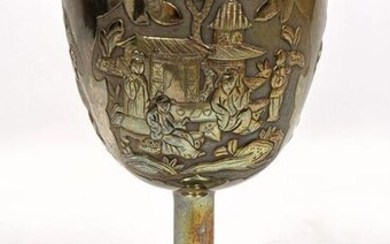 Japanese Sterling Repousse Goblet with Gold Wash Interi