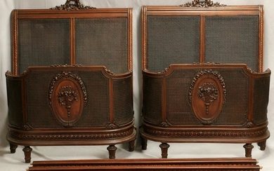 LOUIS XVI STYLE CARVED WALNUT BEDS, PAIR