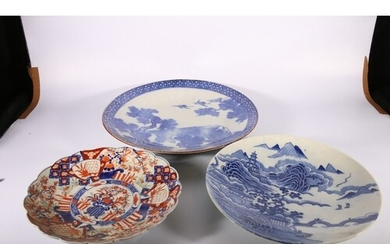 Large Japanese blue and white transfer printed dish, depicti...