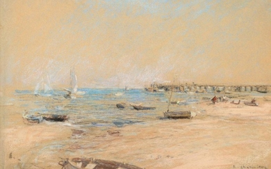 Léon Augustin L'Hermitte (1844-1925) French ''Plage Trouville, France'' Signed, inscribed...