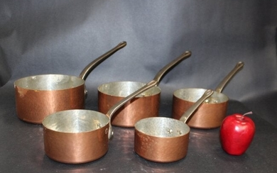 Lot of 5 French hand hammered copper pots