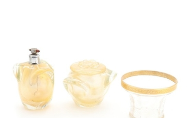 Murano gold dusted clear glass perfume bottle and lid jar. And a Moser bowl. Mid 20th century. H. 8.5–14 cm. (3)