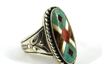 Native American Silver, Colored Stones & MOP Ring