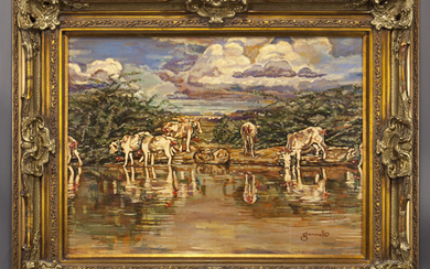 """Nicholas Gamarello """"Untitled (Cows at the water's"""