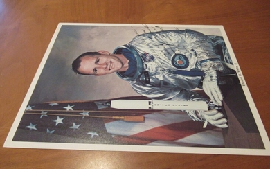 Original Nasa Color Photograph Of Apollo 1 Astronaut, Inscribed By Edward H White, In Space Suit With Model Of The Rocket, In Front Of A Large American Flag.