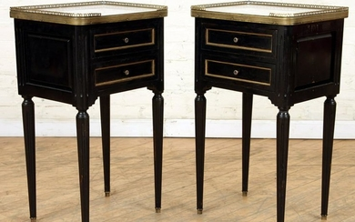 PAIR FRENCH MARBLE TOP TABLES/NIGHT STANDS C.1940