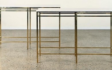 PAIR ITALIAN RECTILINEAR BRASS CONSOLE TABLES