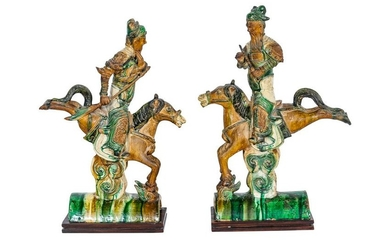 PAIR OF CHINESE GLAZED CERAMIC ROOF TILES
