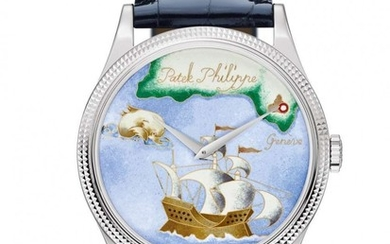 "PATEK PHILIPPE * Rare Handcraft Collection, Calatrava ""Chart of Caribean"""