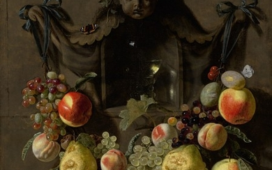 PIETER VAN DEN BOSCH THE YOUNGER | A TROMPE L'OEIL STILL LIFE WITH A SWAG OF GRAPES, PEARS, PEACHES, APPLES, PLUMS, AND BUTTERFLIES DECORATING A NICHE WITH A GLASS ROEMER