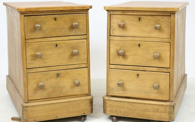 Pair of 19th c Pine Three Drawer Work or End Tables