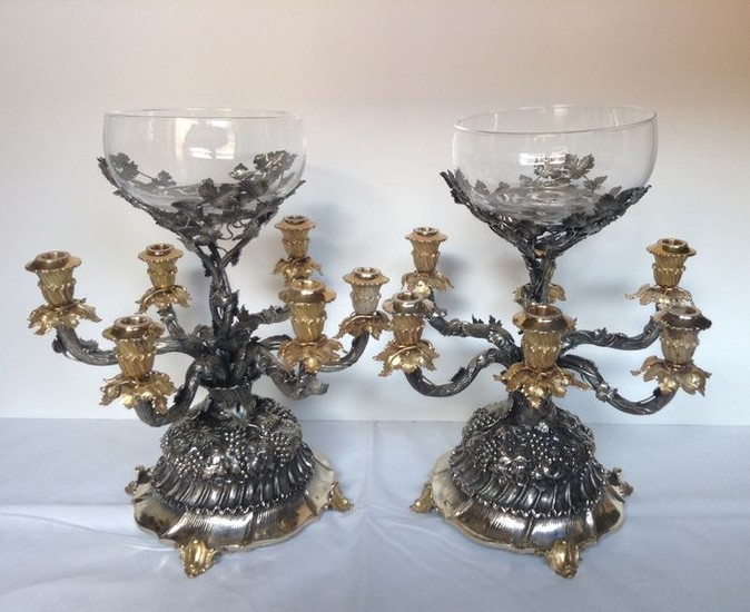 Pair of Candelabra - .925 silver - Italy - Mid 20th century