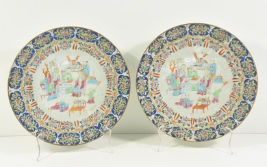 Pair of Chinese porcelain dishes ø 30 cm...