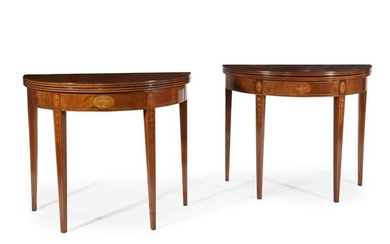 Pair of Federal style inlaid mahogany demi-lune card tables...