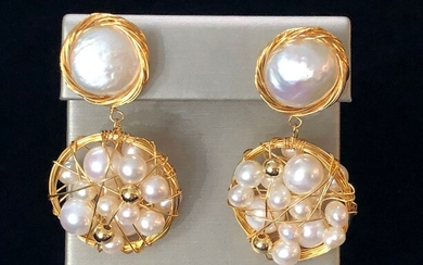 Pair of White Fresh Water Round Pearl Coin Earrings