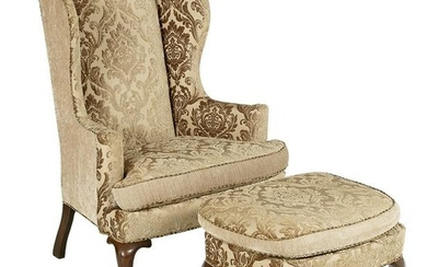 Queen Anne-Style Wing Chair and Ottoman