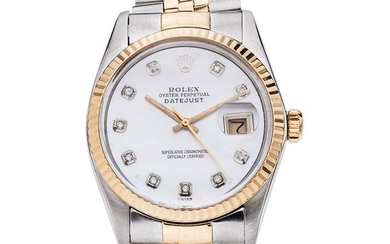ROLEX OYSTER PERPETUAL DATEJUST. STEEL AND 18K YELLOW GOLD. REF. 16013, CA. 1988