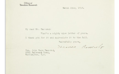 ROOSEVELT, THEODORE. Brief Typed Letter Signed, to John Hays Hammond
