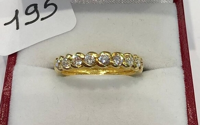 Ring 1/2 Wedding Band in yellow gold, set with 11...