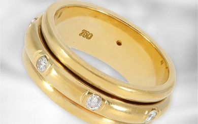 Ring: interesting, high-quality gold-forged ring set with diamonds,...