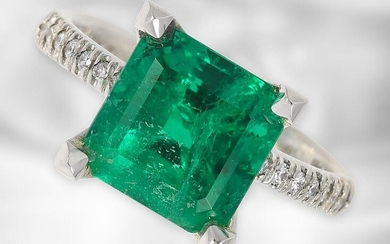 Ring: very high quality emerald/brilliant ring, natural, untreated Colombian emerald 3.87ct, GRS expertise