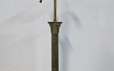 "SILVERPLATE COLUMN LAMP 25""H"