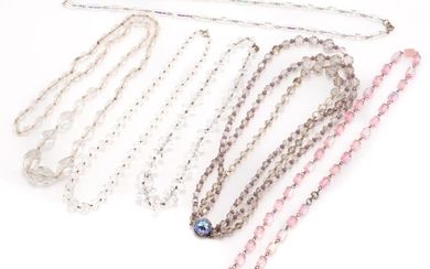 SIX VINTAGE FACETED CRYSTAL AND GLASS BEAD NECKLACES; 2 graduated crystal, lengths 41 & 45cm, a graduated glass, 80cm, 2 strands of...