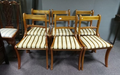 Set of 6 Inlaid Yew Dining Room Chairs