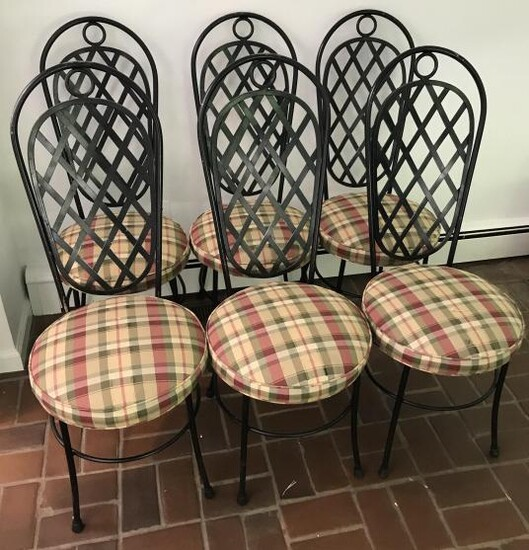 Set of Six French Style Wrought Iron Dining Chairs