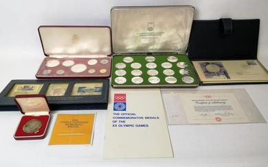 Set of eighteen Munich Olympics silver commemorative medals,...