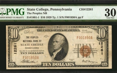 State College, Pennsylvania. $10 1929 Ty. 1. Fr. 1801-1. The Peoples NB. Charter #12261. PMG Very Fine 30.