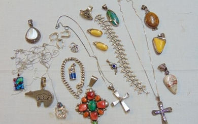 Sterling silver jewelry lot, various pendants including