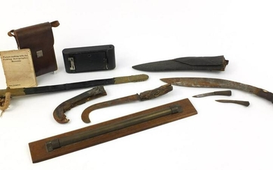 Sundry items comprising 19th century military leather
