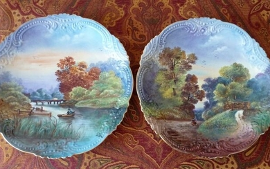 Superb pair of very large 19th century porcelain dishes hand painted and signed L. Thomas (2) - Porcelain