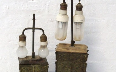 TWO CHINESE STYLE ARCHAIC TABLE LAMPS both with a central co...