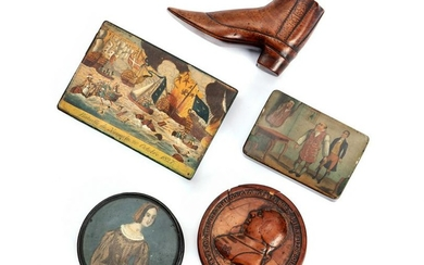 Three English snuff boxes and other articles