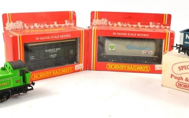 Three HORNBY trucks (2 in original boxes) and green 'Little ...
