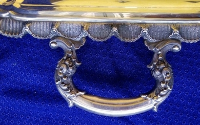 Tray, wonderful large tray - .800 silver - Italy - First half 20th century