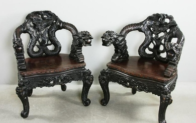 Two Antique Japanese Carved Dragon Chairs
