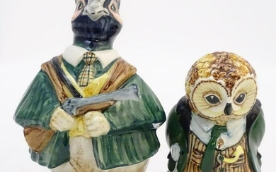 Two Rye Cinque Ports Pottery comedic figures from the