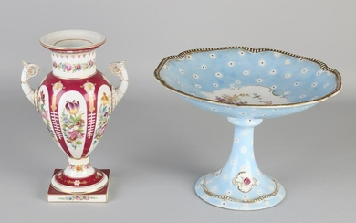 Two parts antique hand-painted porcelain with floral