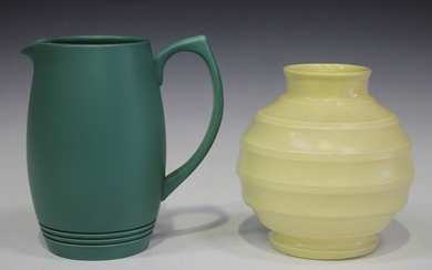 Two pieces of Wedgwood designed by Keith Murray, comprising a straw glazed football vase, height 18c