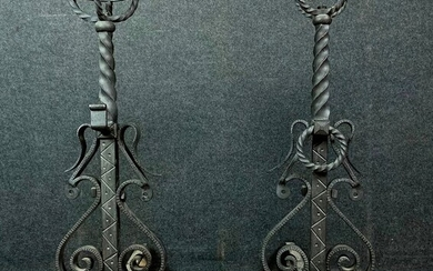 Very important pair of castle andirons - Renaissance style - Iron (cast) - Early 19th century