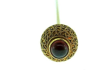 Victorian 10k Yellow Gold Filigree Garnet Pin