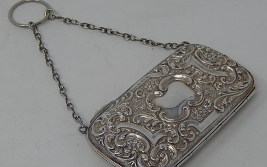 Victorian Silver Ladies Evening Purse with Chain & Ring Hand...