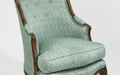 Victorian carved walnut upholstered armchair