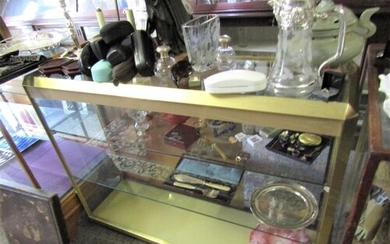 Vintage Brass Mounted Shop Display Counter Glazed Front with...